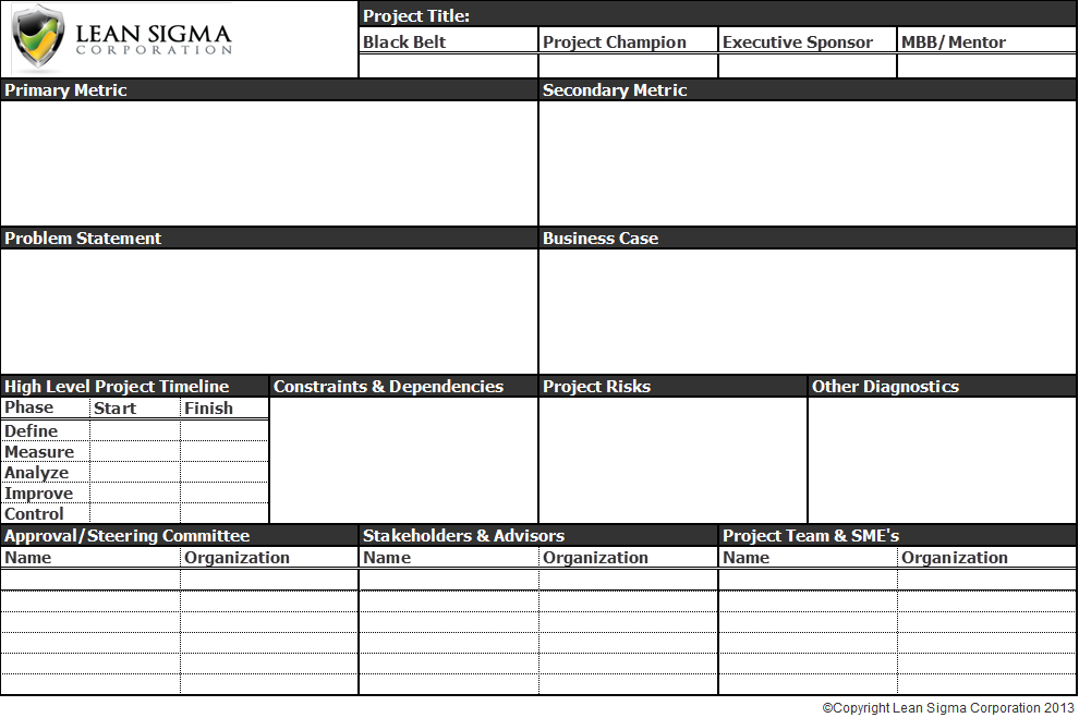 six sigma black belt project template - free six sigma tools